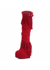 Mersh Knee High Wedge Heel Red Suede Tassel Boots