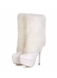 MartOfChina_Plus Size Faux Fur Decoration White Middle Calf Boots
