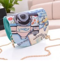 Summer Beautiful Turquoise Zip Closed Printed Shoulder Bags