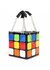 Amazing Rubik Cube Pattern Zipper Glamorous Cosmetic Bag For Woman