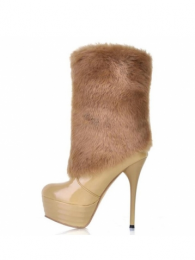 MartofChina_Vogue Slim Heel Plus Size Short Boots with Faux Fur