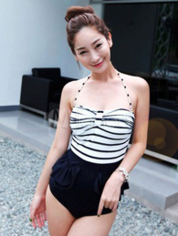 Beautiful Black Peplum Stripe One Piece Swimwear For Women