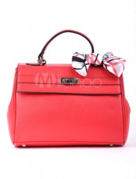 Classical Red Cowhide Butterfly Decoration Womens Tote Handbag