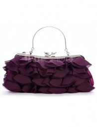 Purple Satin Metallic Ladies Special Occasion Handbag