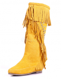 Round Toe Fringe Cowhide Stylish Knee Length Boots for Women