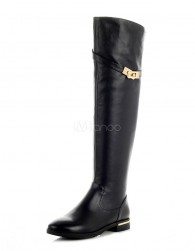 Sexy Black Round Toe Cowhide Over the Knee Boots for Women