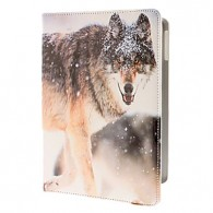 Wolf in the Snow Pattern PU Full Body Case with Stand for iPad Air