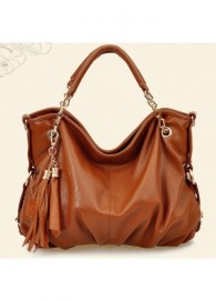 Fine Quality Chain Design Brown PU Hobo Bags with Tassel