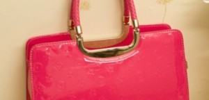 Star Style Stacked Rose Patent Leather Satchel Bag