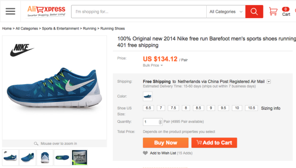 Buying Non-Chinese brands in China - Nike